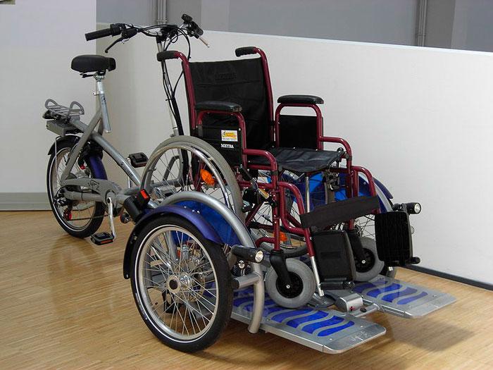 Тандем с инвалидной коляской