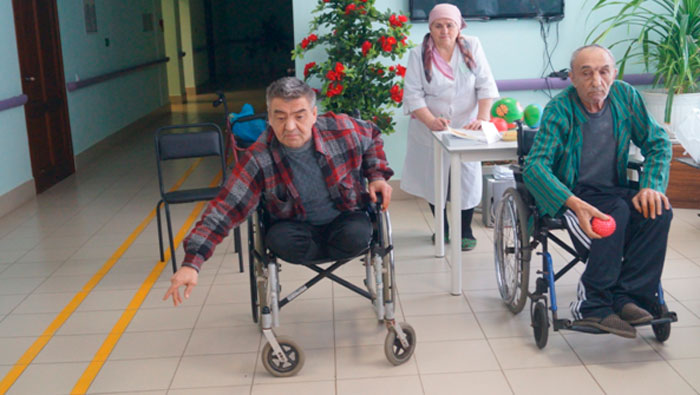 Спортивные игры жильцов Мамадышского специального дома-интерната для престарелых