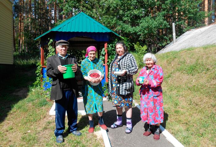 Сбор ягод жильцами Заречнского дома-интерната для престарелых