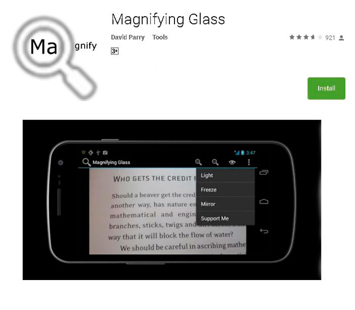 Приложение Magnifying Glass With Light