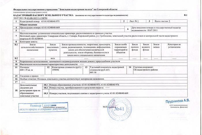 Пример кадастрового паспорта